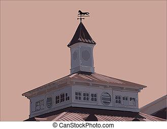 Cupola - Decorative cupola with weathervane atop rural...