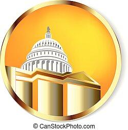 cupola, costruzione, oro, logotipo