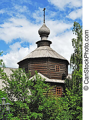 Cupola of ancient wooden church in Murom, Russia