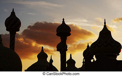 Cupola silhouette on the sunset