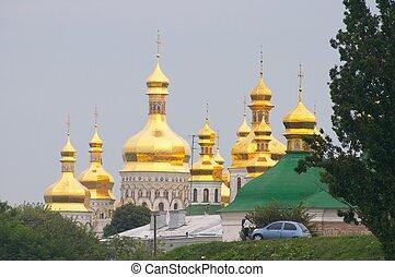 Cupolas of Kiev-Pecherska Lavra - Kiev, Ukraine