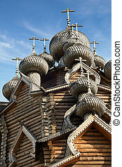 Cupolas of wooden Christ Orthodox church