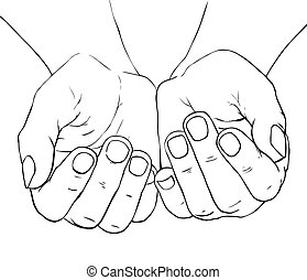 Cupped female hands - Hand -drawn illustration of cupped...