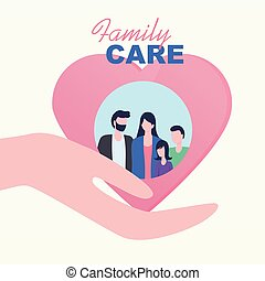 Cupped Hand Palm Heart Family Children Care