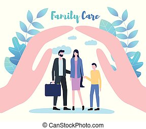 Cupped Hand Palms above Family Care Illustration