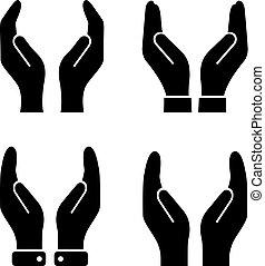 cupped, vector, beschermen, pictogram, handen