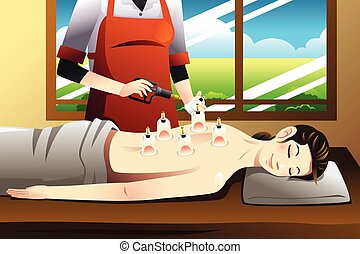 A vector illustration of woman laying on chest with cupping treatment on back