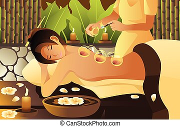 A vector illustration of woman receiving a cupping treatment