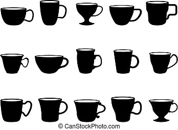 Cups - fifteen different cups black and white silhouettes