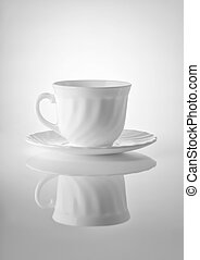 Cups for tea on a white background - Cups for tea with...