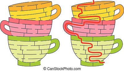 Eazy cups maze for kids with a solution
