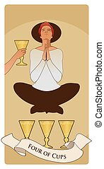Cups-Minor Arcana-03 - Four of Cups. Tarot cards. Young man ...