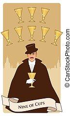 Cups-Minor Arcana-08 - Nine of Cups. Tarot cards. Elegant ...