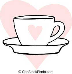 Cups mug heart love hand drawn style vector doodle design illustrations