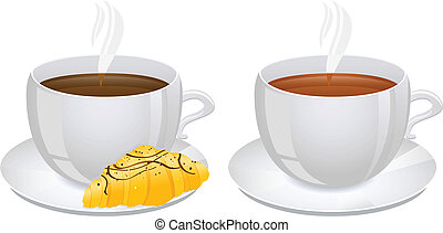 Cups of coffee and Tea with Croissant