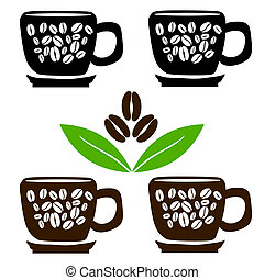 Cups of coffee with beans and leaves