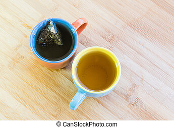 Cups of healthy organic tea