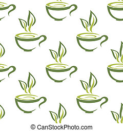 Green organic cups of steaming herbal tea seamless background pattern for a healthy hot beverage in square format