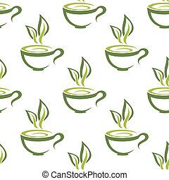 Cups of herbal tea seamless pattern - Green organic cups of...