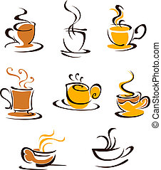 Cups of hot coffee