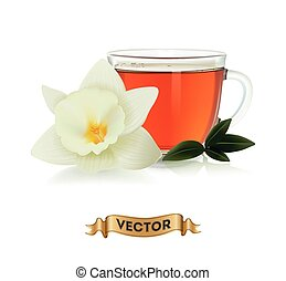 Cups of tea with green leaves on white background