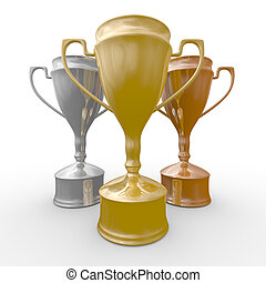 cups of winner on white background. Isolated 3D  image