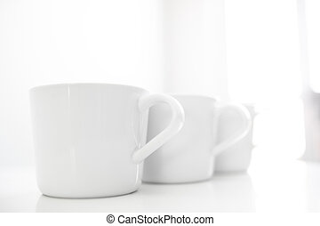 Cups on restaurant table