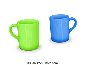 cups on white background