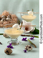 Cups With Mustard Mayonnaise And Quail Eggs