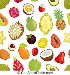 cupuacu, muster, avocado, seamless, früchte, tropica