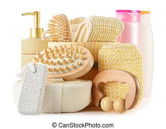 cura corpo, prodotti, isolato, accessori, bianco, bellezza