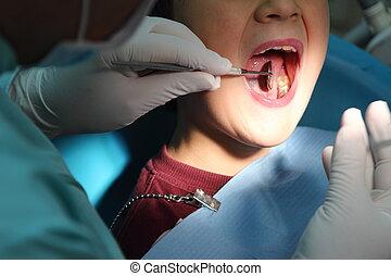 cura dentale, per, uno, capretto