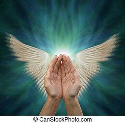 cura, energia, saída, enviando, angelical