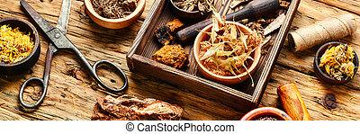 cura, ervas, em, caixa madeira