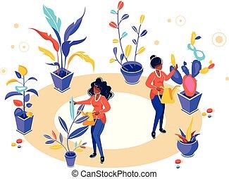cura, irrigazione, attrezzi, natura, ecologia, fondo, crescente, giardinieri, pulito, giardino, fiori, piante, vettore, illustrazione, presa, giardino, bianco, studiare, lattina