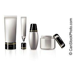 cura, pelle, cosmetica, set, collezione, prodotto bellezza