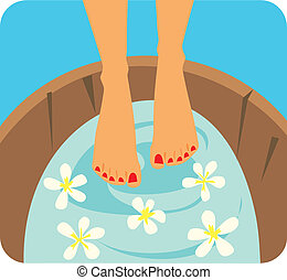 cura piede, grafico, illustrazione