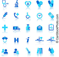 cura, salute, icone