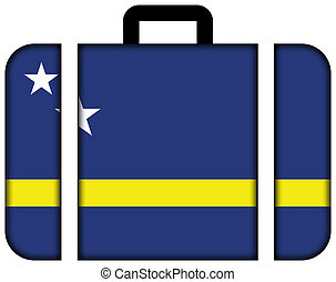 curacao., concept, transport, voyage, drapeau, valise, icône