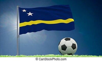 Curacao flag fluttering and football rolls - Flag of Curacao...