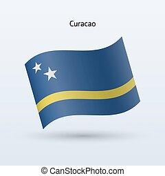 Curacao flag waving form. Vector illustration. - Curacao ...