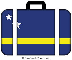 curacao., fogalom, szállítás, utazás, lobogó, bőrönd, ikon