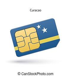 Curacao mobile phone sim card with flag. Vector illustration...