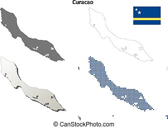Curacao outline map set