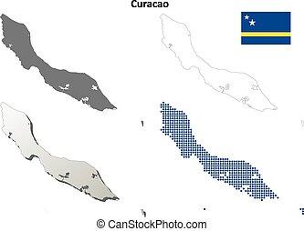 Curacao outline map set