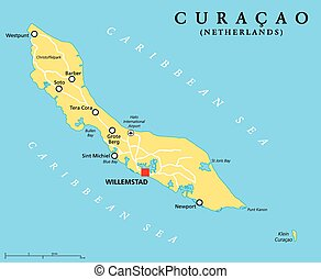 Curacao Political Map with capital Willemstad and important cities. English labeling and scaling. Illustration.