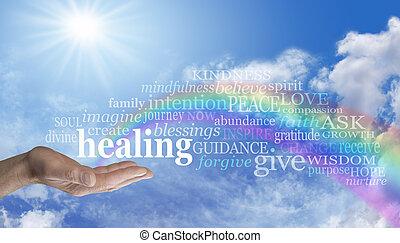 curación, arco irirs, cielo, palabra, nube