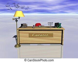 curador, desk.