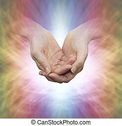 curandero, con, divino, luz