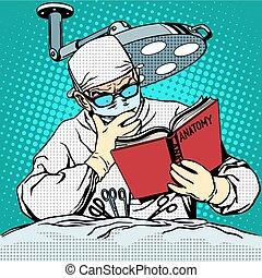 curar, anatomy., medicina, cirujano, antes, cirugía, lectura